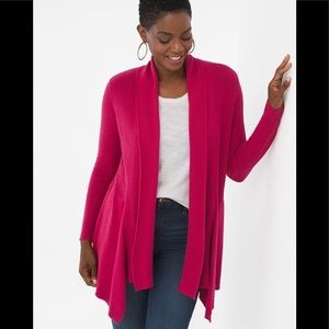 Chicos 100% linen pink ribbed drape front cardigan